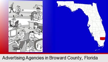 an advertising agency; Broward County highlighted in red on a map