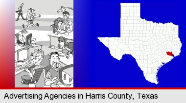 an advertising agency; Harris County highlighted in red on a map