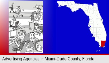 an advertising agency; Miami-Dade County highlighted in red on a map