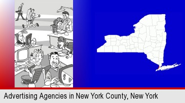 an advertising agency; New York County highlighted in red on a map