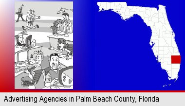 an advertising agency; Palm Beach County highlighted in red on a map