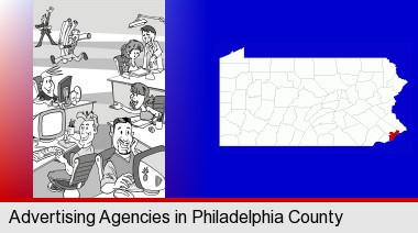 an advertising agency; Philadelphia County highlighted in red on a map